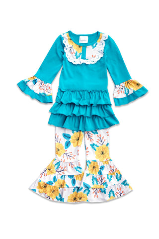 Blue Floral Ruffle Girls Set CXCKTZ-201860