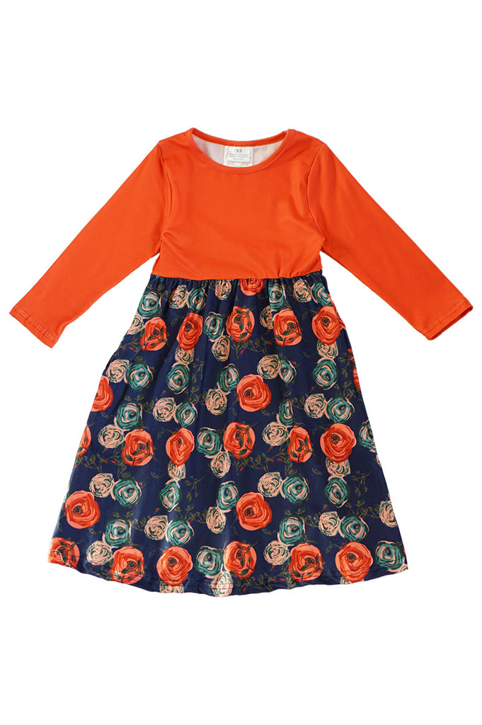 Rust floral maxi dress for girls mommy & me style CXQ-540156
