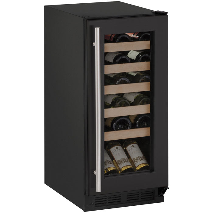 "U-Line 15"" Wide 1000 Series 24 Bottle Single Zone Black Wine Refrigerator"