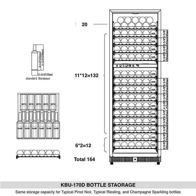 Kings Bottle 164 Bottle Dual Zone Wine Cooler Refrigerator With Glass Door - Swings and More