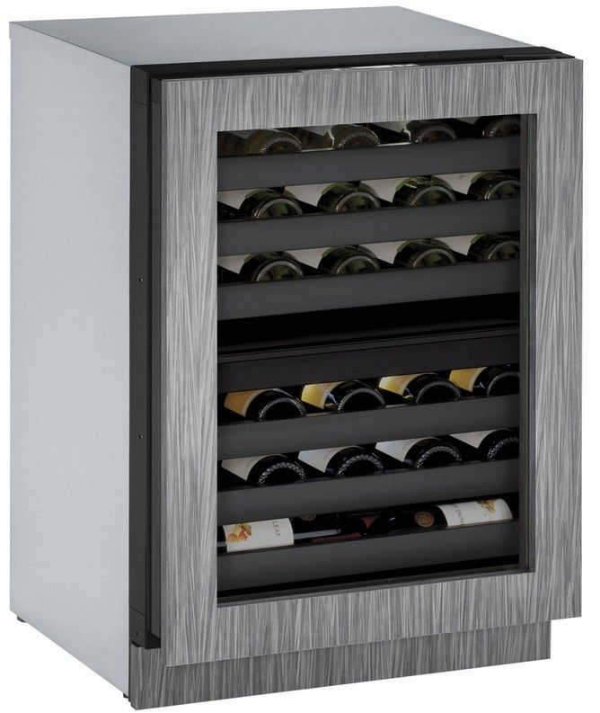 "U-Line 24"" Wide 43 Bottle Wine Captain with Independently Controlled Dual Zones - Reversible Hinge - Integrated Frame Custom Panel"