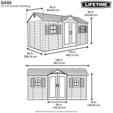 Lifetime 15 X 8 ft. Outdoor Storage Shed - Swings and More