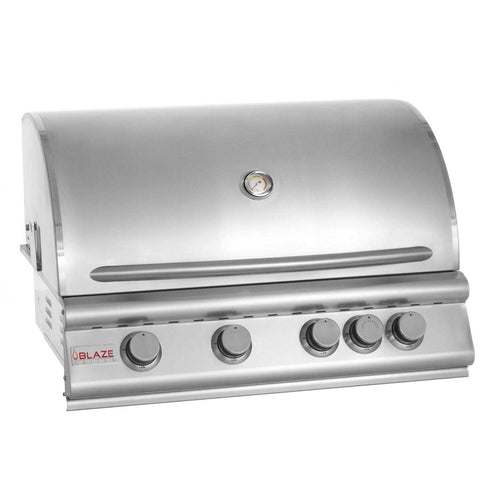 Blaze 32 Inch 4-Burner Built-In Propane Gas Grill With Rear Infrared Burner - Swings and More