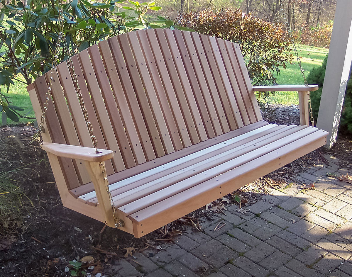 Cedar Porch Swing Mountaintop Fanback - Swings and More
