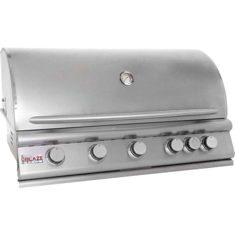 Blaze 40 Inch 5-Burner Built-In Propane Gas Grill With Rear Infrared Burner - Swings and More