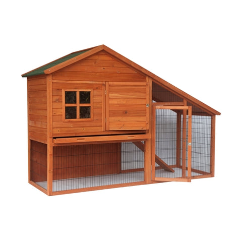 Multi Level Wooden Chicken Coop or Rabbit Hutch - 83 x32 x 57 Inches - Swings and More