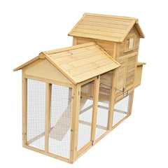 Multi Level Wooden Chicken Coop or Rabbit Hutch - 84 x 28 x 52 Inches