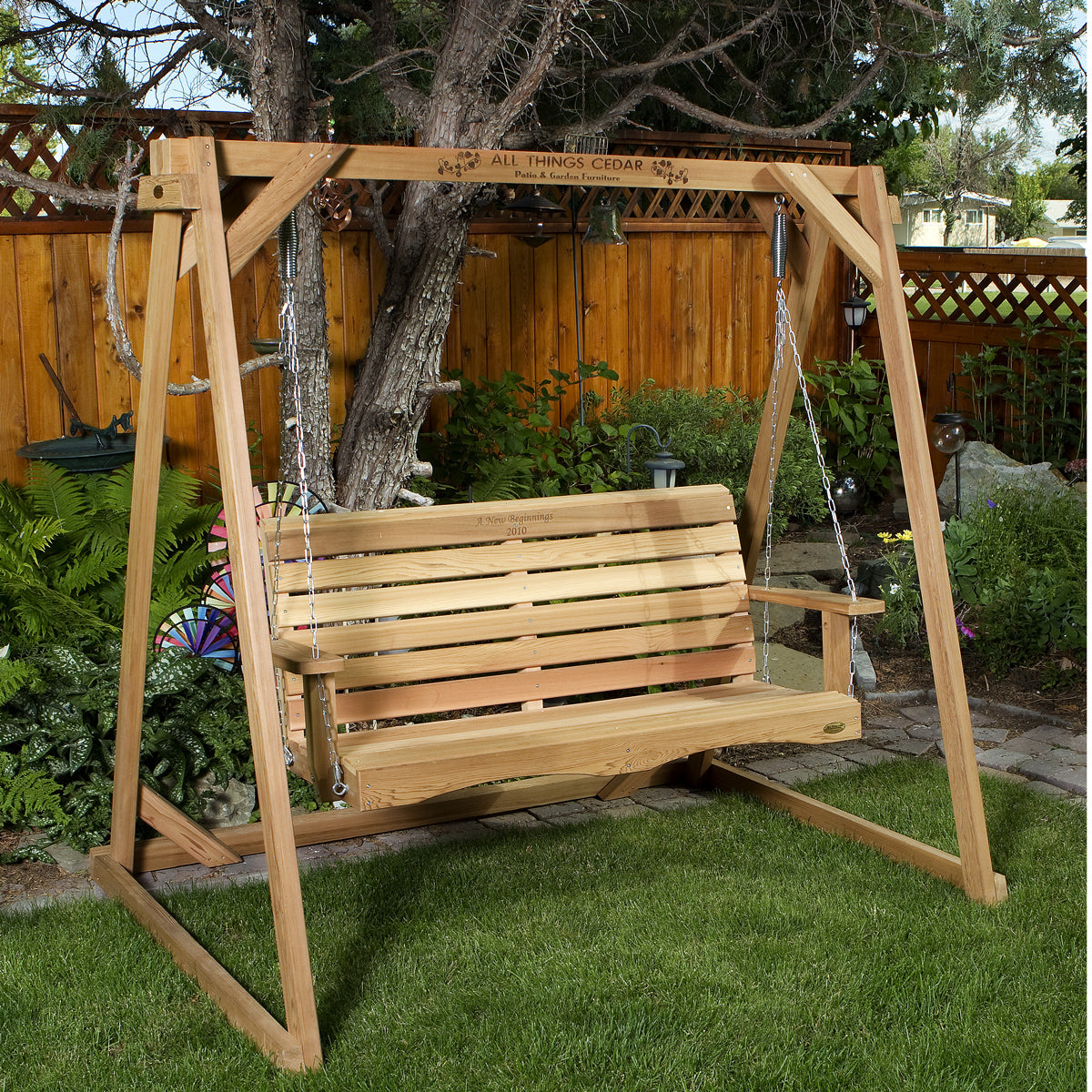 Porch Swing Set 6' Swing A-Frame and 4' Cedar - Swings and More