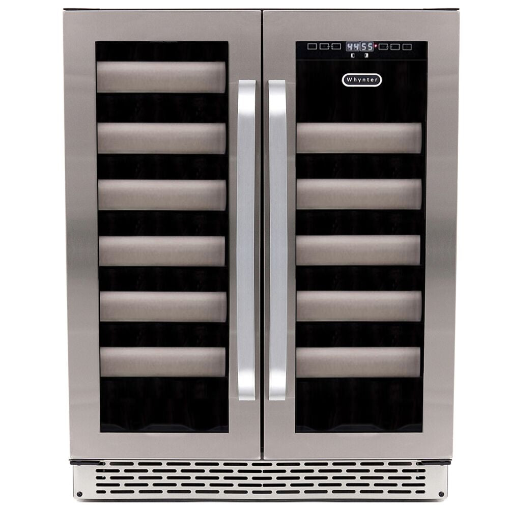 Whynter Elite 40 Bottle Seamless Stainless Steel Door Dual Zone Built-in Wine Refrigerator  BWR-401DS - Swings and More