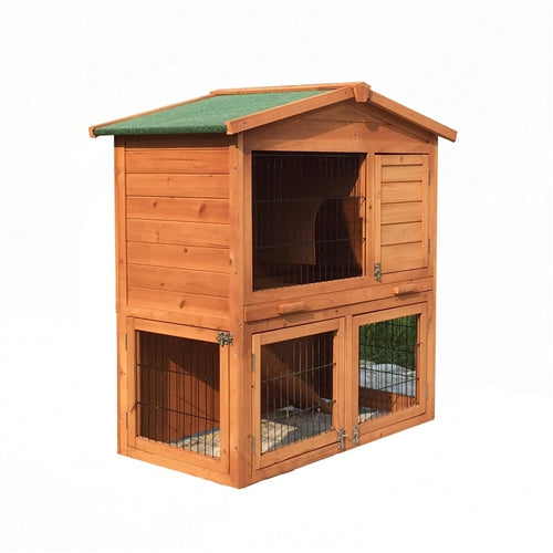 Multi Level Wooden Chicken Coop or Rabbit Hutch - 40 x 22 x 40 Inches - Swings and More
