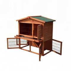 Multi Level Wooden Chicken Coop or Rabbit Hutch - 40 x 22 x 40 Inches
