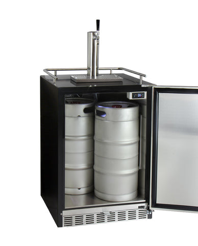 Kegco Single Tap Kegerator with X-CLUSIVE Premium Direct Draw Kit - Right Hinge  HK38BSU-1 - Swings and More