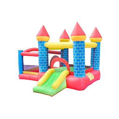 Inflatable Bounce House Mega Castle with Built-In Ball Pit, Slide, and Hoop - Swings and More