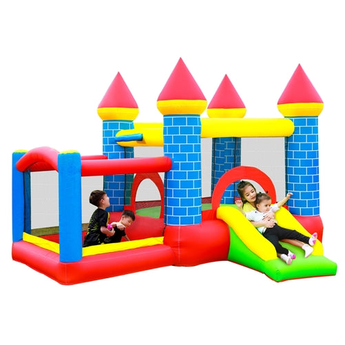 Inflatable Bounce House Mega Castle with Built-In Ball Pit, Slide, and Hoop