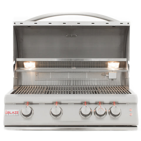 Blaze 32 Inch 4 Burner LTE Grill Built-In Natural Gas Grill with Lights - Swings and More