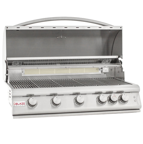 Blaze 40 Inch 5 Burner LTE Grill Built-In Propane Gas Grill with Lights - Swings and More