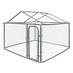 Outdoor Chain Link Dog Kennel with Roof Frame - 13 x 7.5 x 6 - Swings and More