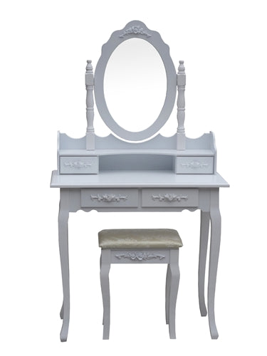 Floral Bedroom Vanity Dressing Table Set with Mirror and Stool With - Swings and More