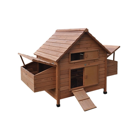 Aleko Multi Level Wooden Chicken Coop or Rabbit Hutch - Red - Swings and More