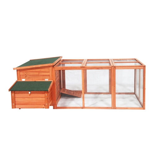 Chicken Coop / Rabbit Hutch with Chicken Run - 57 x 87 x 32 Inches