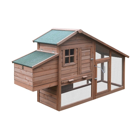 Multi Level Wooden Chicken Coop or Rabbit Hutch - 80 x 29.5 x 45.7 Inches - Red - Swings and More