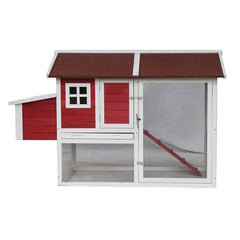 Barn Style Wooden Chicken Coop - Red with White Trim - Swings and More