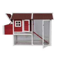 Barn Style Wooden Chicken Coop - Red with White Trim