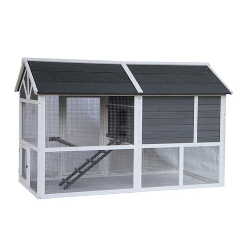 Barn Style Wooden Chicken Coup Grey with White Trim - Swings and More