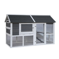 Barn Style Wooden Chicken Coup Grey with White Trim