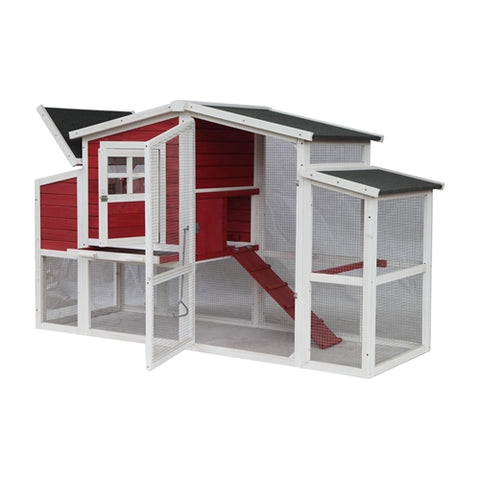 Barn Style Wooden Chicken Coop - 78 x 29.5 x 45.5 inches - Red with White Trim - Swings and More