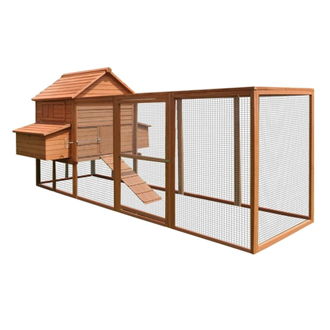 Multi Level Wooden Chicken Coop or Rabbit Hutch - 143.7 x 68.5 x 66.5 Inches - Red - Swings and More
