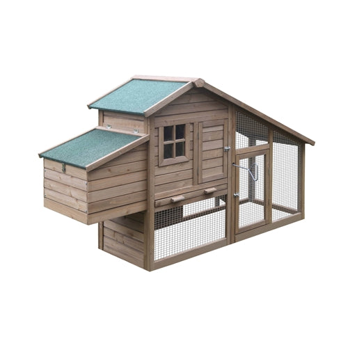 Multi Level Wooden Chicken Coop or Rabbit Hutch - 75 x 25.5 x 44.5 Inches - Brown - Swings and More