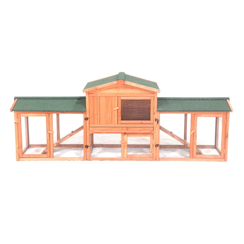 Chicken Coop / Rabbit Hutch with Chicken Run - 89 x 24 x 34 Inches