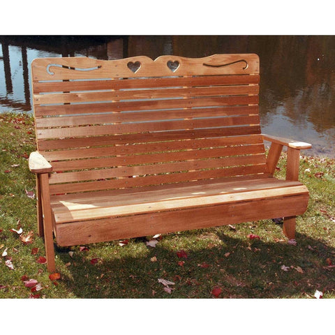 Creekvine Designs Cedar Royal Country Hearts Garden Bench - Swings and More