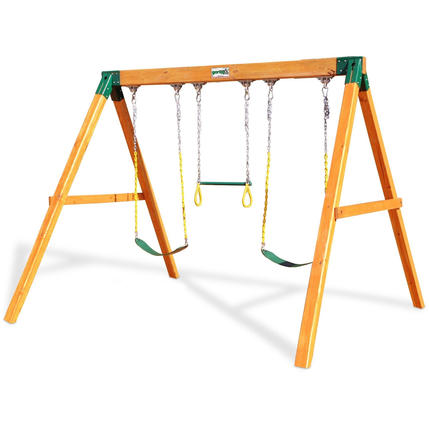 Gorilla Playsets 3 Position Swing Station - Amber Stained Cedar - Swings and More