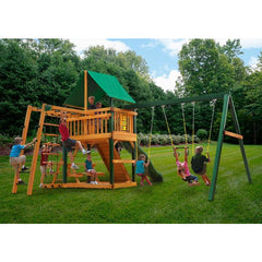 Gorilla Navigator Swing Set w/ Sunbrella Canvas Forest Green Canopy