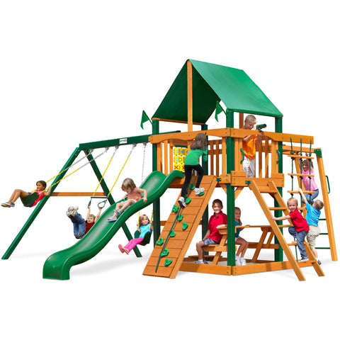 Gorilla Navigator Playset w/ Sunbrella Canvas Forest Green Canopy - Swings and More