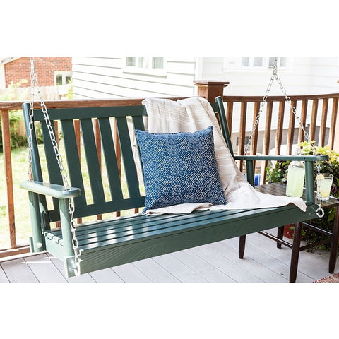 Dixieseating Corolla Porch Swing - 4 Ft Straight Slat Seat - Swings and More