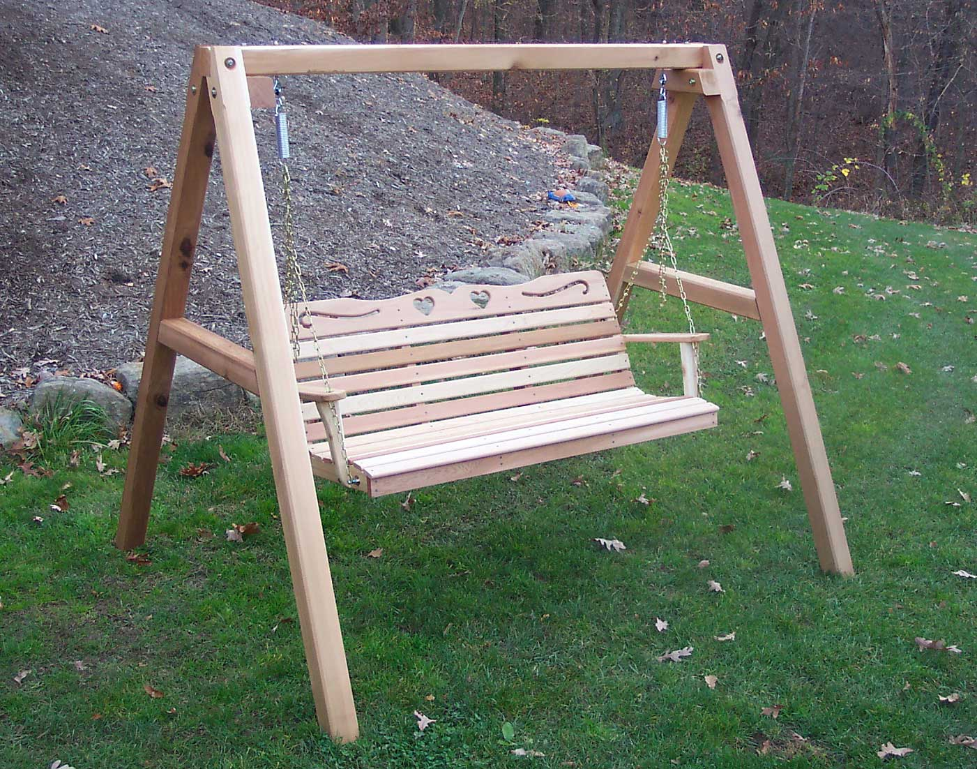 Cedar Country Hearts Porch Swing w/Stand - Swings and More