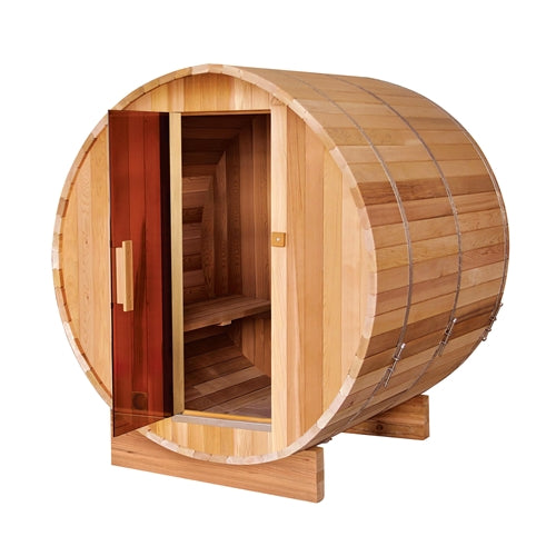 Outdoor or Indoor Rustic Western Red Cedar Wet Dry Barrel Sauna - 6kW ETL Certified Heater - 6 person - Swings and More