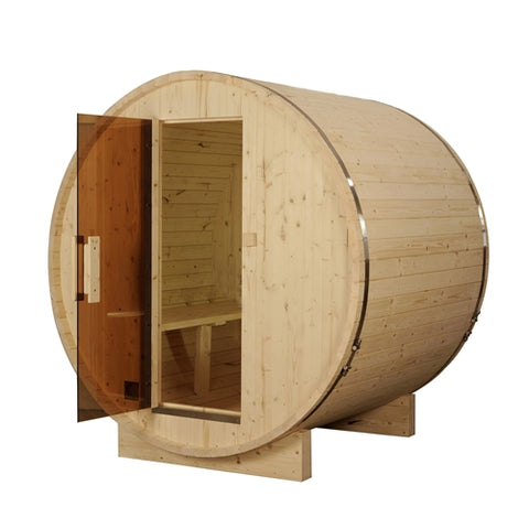 Outdoor or Indoor White Pine Wet Dry Barrel Sauna - 6 kW ETL Certified Heater - 6 Person - Swings and More