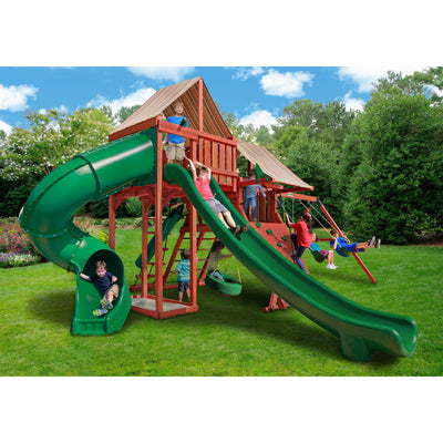 Gorilla Sun Climber Deluxe Playset w/ Sunbrella® Brannon Redwood 01-0042-3 - Swings and More