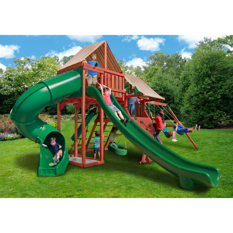 Gorilla Sun Climber Deluxe  w/ Sunbrella® Brannon Redwood Swing Set - Swings and More