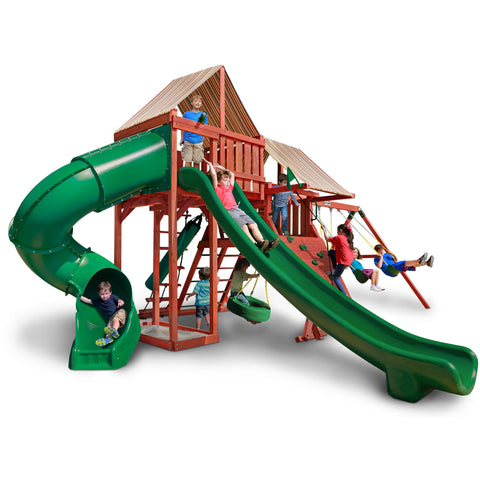 Gorilla Sun Climber Deluxe Playset w/ Sunbrella® Brannon Redwood - Swings and More