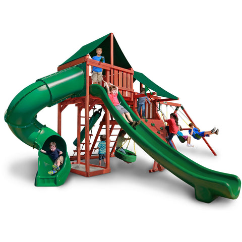 Gorilla Sun Climber Deluxe Playset w/ Sunbrella® Canvas Forest Green Canopy - Swings and More