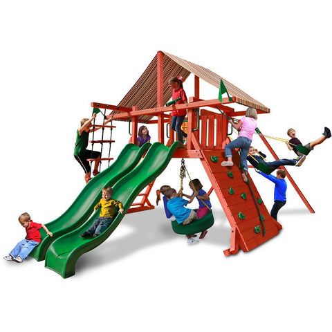 Gorilla Sun Climber Extreme Swing Set w/ Sunbrella® Brannon Redwood Canopy - Swings and More