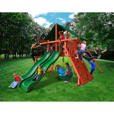 Gorilla Sun Climber Extreme Playset w/ Sunbrella® Canvas Forest Green 01-0041-2 - Swings and More