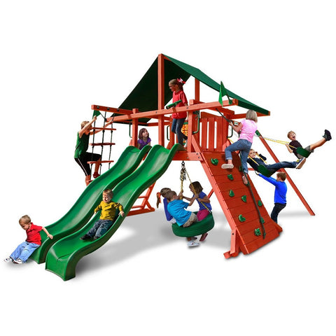 Gorilla Sun Climber Extreme Playset w/ Sunbrella® Canvas Forest Green - Swings and More