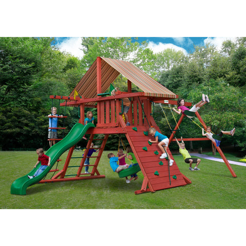 Gorilla Sun Climber I Swing Set w/ Sunbrella® Brannon Redwood Canopy - Swings and More