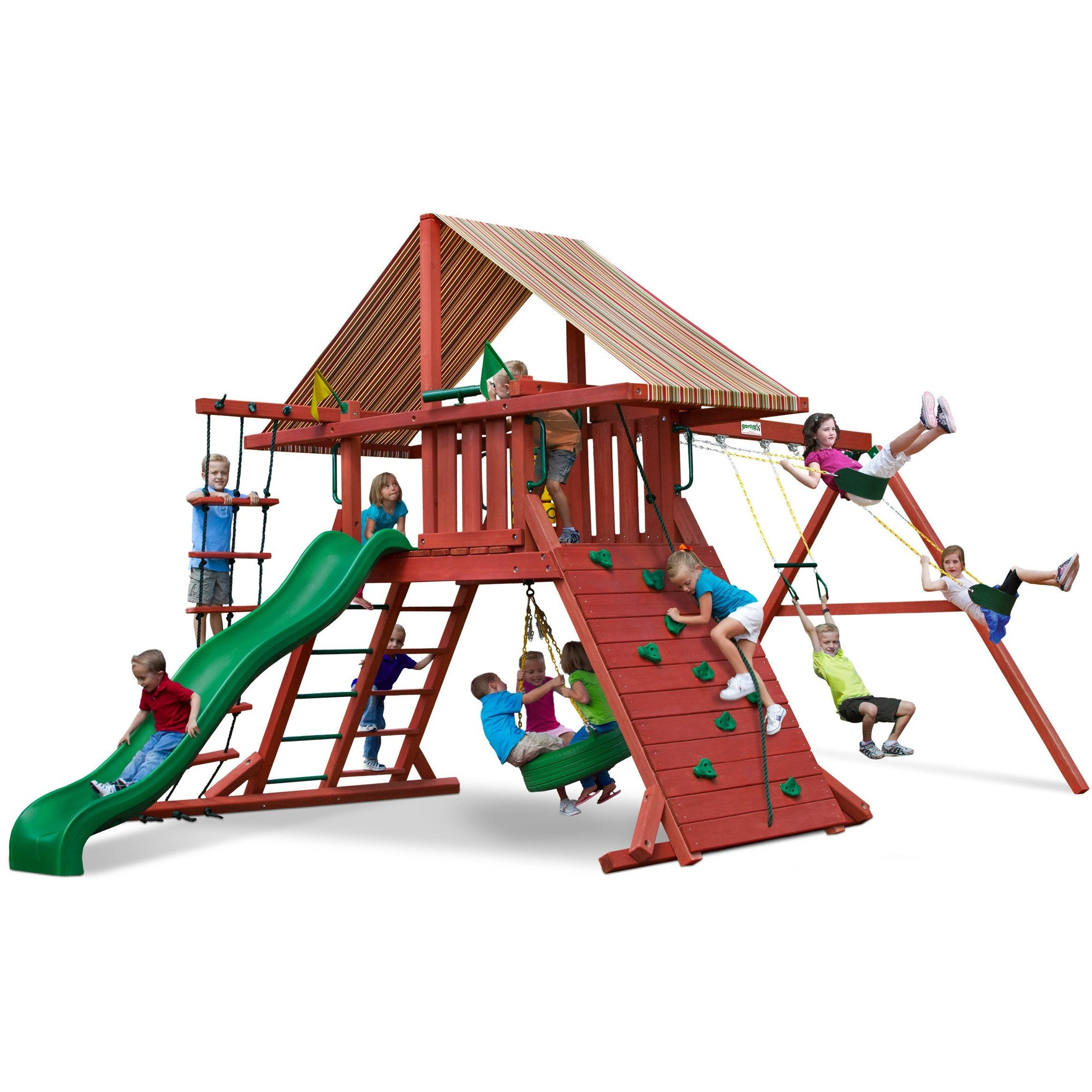 Gorilla Sun Climber I Playset w/ Sunbrella® Brannon Redwood Canopy 01-0026 - Swings and More